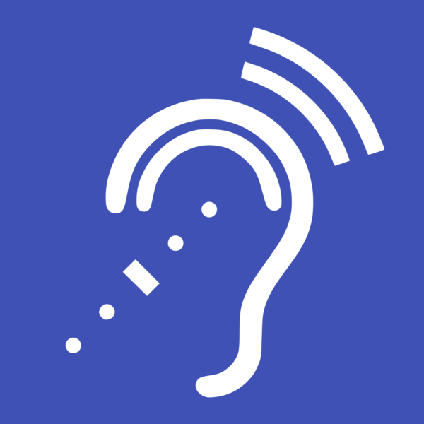 A blue background with a white line drawing of an ear and sound going into and out of it.