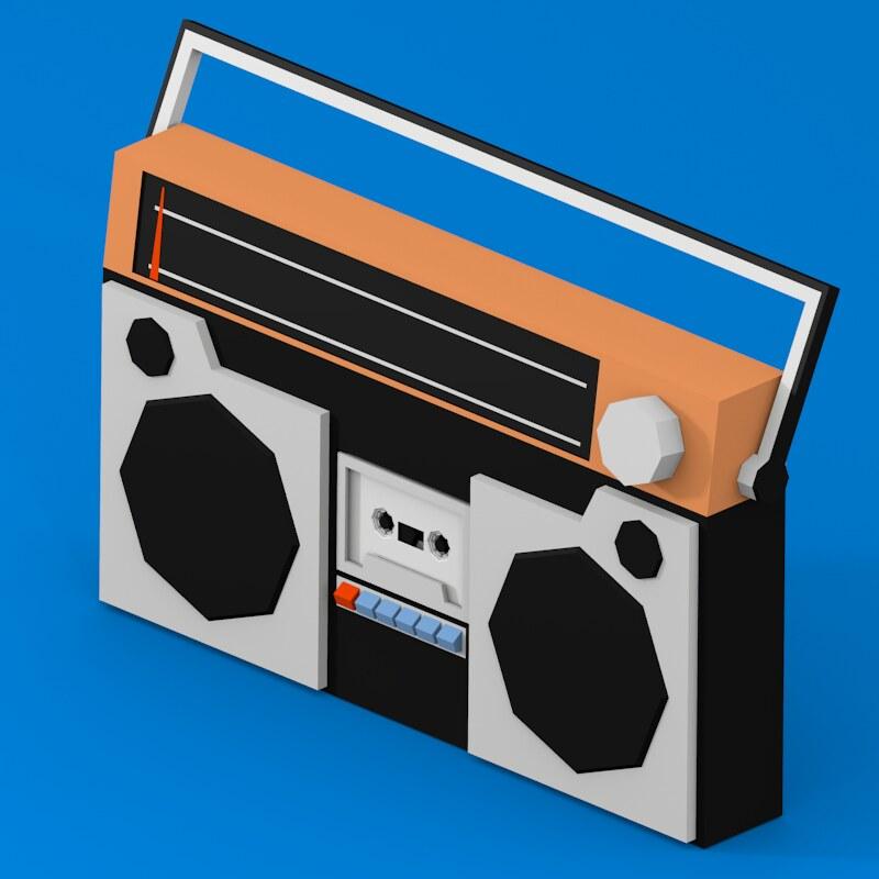 cartoon radio with cassette player