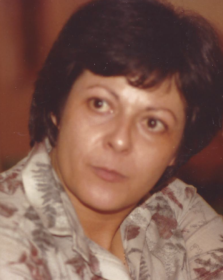 close up of my Mom in her 40s with jet black hair