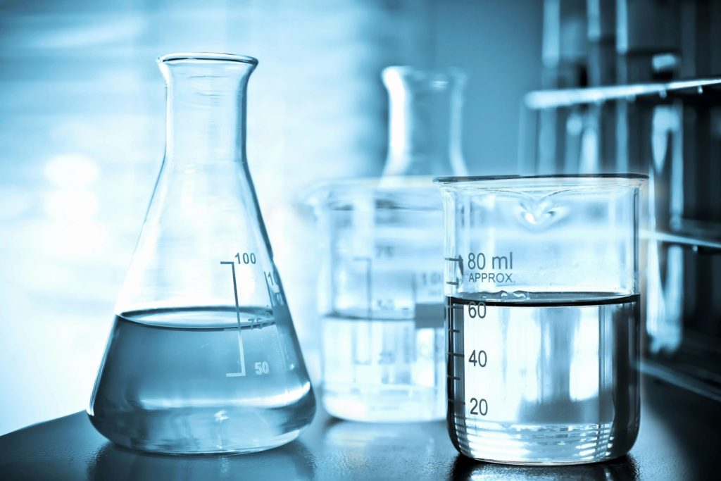 beakers in a science lab