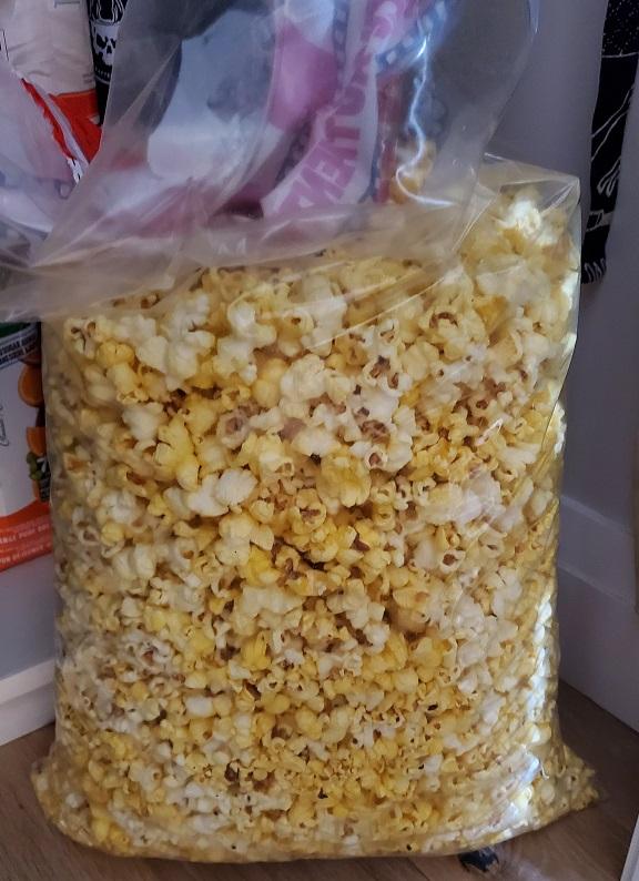 Huge bag of popcorn sitting on the pantry floor.