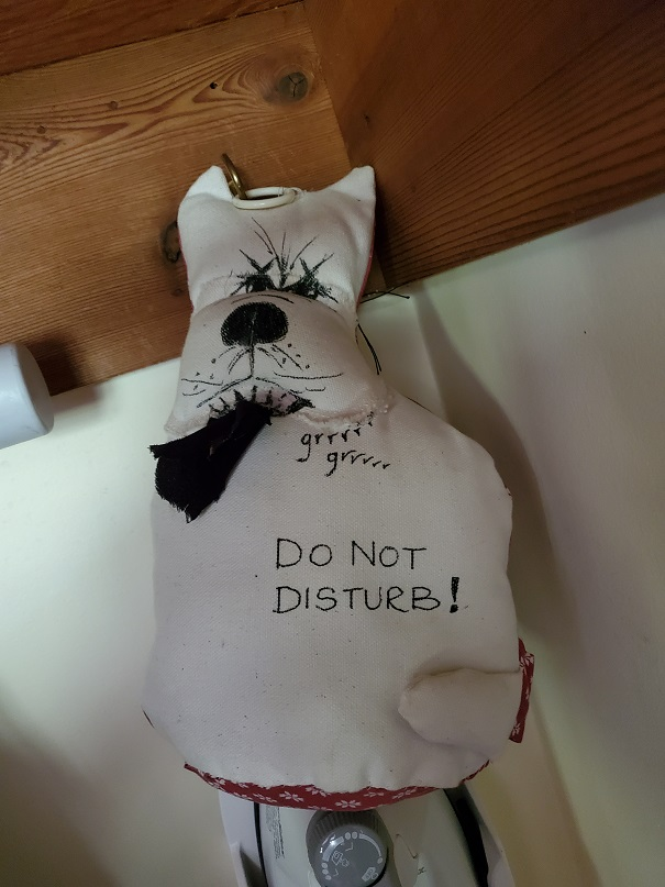 The Do Not Disturb dog - a stuffed white, canvas dog that has Do Not Disturb written on it in black marker.