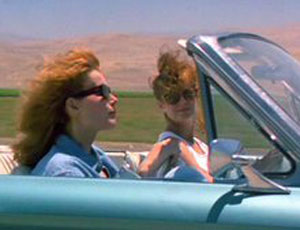 Still from Thelma and Louise as they are driving in the convertible.