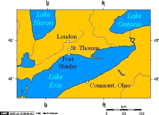 map showing Port Stanley south of St. Thomas on the north shore of Lake Erie